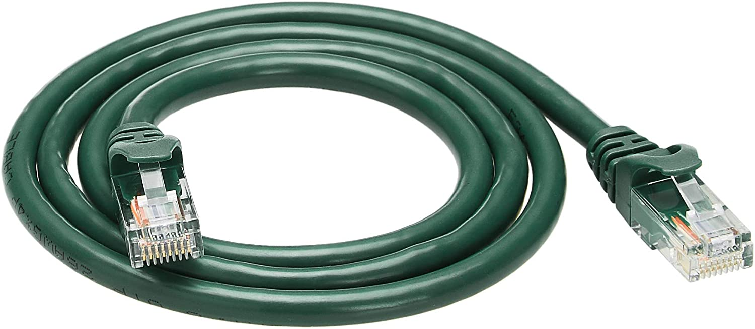 Amazon Basics Snagless RJ45 Cat-6 Ethernet Patch Internet Cable - 3-Foot, Green, 5-Pack