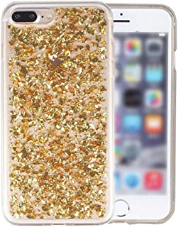Phone Case Gold Foil Paillette Sequin Phone Case for iPhone 6 6S 7 8 Plus 10 X Xs Xr Max Se 5 5S Bling Glitter Sparkle Soft Gel TPU Cover,Gold,for iPhone Xr