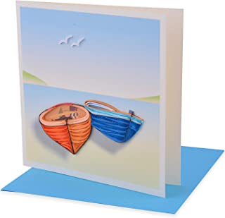 Handmade Pretty Quiling Card with Nature - Boat 01 (in collection of birthday card, love card, thank you card, valentine card, animal card, flower card, greeting card,etc.)