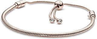 Pandora Women's Rose Gold Cubic Zirconia 14K Charm Bracelet, 28cm - 587125CZ-2
