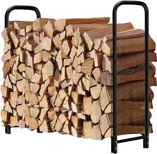 Amagabeli Support à Bois de Chauffage 1,2m Long Porte-bûches de cheminée Porte-bûches extérieur pour Bois de Chauffag...