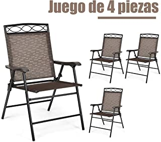 COSTWAY Juego de 4 Sillas de Jardín Silla Plegable Sillón para Camping Terraza Piscina Exterior Playa