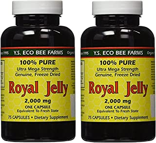 YS Eco Bee Farms Royal Jelly 2,000 mg - 75 Capsules (Pack of 2)