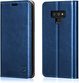 Belemay Samsung Galaxy Note 9 Wallet Case, Slim Genuine Cowhide Leather Flip Case, Folio Cover, Card Holder Slots, Cash Pockets, Kickstand Compatible Samsung Galaxy Note 9, Blue