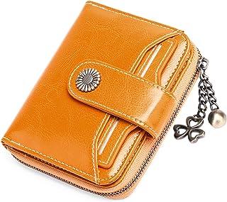 SENDEFN Portafoglio Donna in vera pelle di Blocco RFID in Pelle Corto Portamonete per donna con 8 Scomparti per Carte 2 Fi...