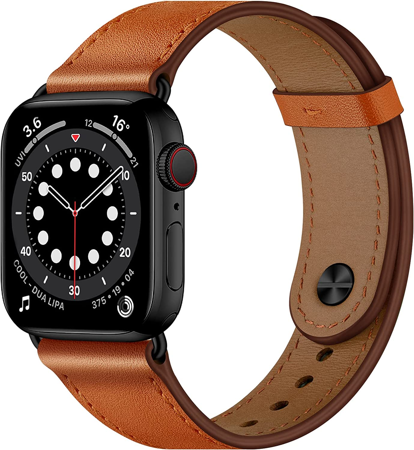 OUHENG Compatible with Apple Watch Band 44mm 42mm 40mm 38mm, Genuine Leather Bands Replacement Strap for iWatch SE Series 6 5 4 3 2 1 (Brown/Black,44mm 42mm)