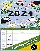 Familienplaner süßes Tier 2021 : kalender Familienplaner mit 5 Spalten für 12 Monate: January 2021 - Dezember 2021   Famil...