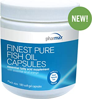 Pharmax - Finest Pure Fish Oil Capsules - Supports Cognitive Health and Brain Function* - 180 Capsules