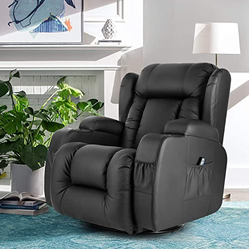 discount Artist Hand 8 Point Massage Leather Recliner Lounge Chair, Zero Gravity Ergonomic Living Room Snuggling Sofa, Swivel Gliding PU Recliner with popular Lumbar Heated Remote Control Fit 2021 for Theater Feeding Baby outlet sale