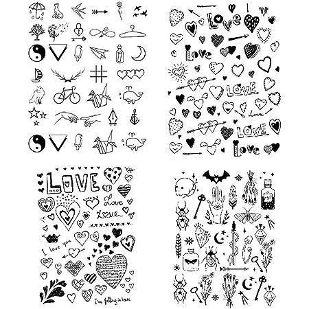 SanerLian Black Love Heart Temporary Tattoo Sticker Geometry Waterproof Women Girls Neck Chest Hand 15X11cm Set of 4