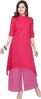 Florence Pink Slub Cotton Embellished Stitched Kurtis with Palazzo(FL-KT-129-PZ-14)