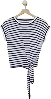Cashmeren Short Sleeve Tie Knot Front Cotton T-Shirt Loose Fit Striped Crop Top Tee