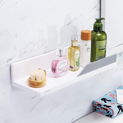 YOHOM White Floating Shelf Adhesive Bathroom Wall Storage Shelf No Drilling Display Ledge Shelf Organizer for Shower ...