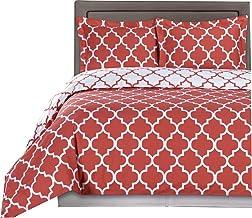 مجموعة أغطية سرير من 3 قطع كاملة من Royal Hotel Coral and White Meridian مقاس 100% قطن 300 خيط