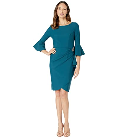 Alex Evenings Short Slimming Dress with Bell Sleeves (Deep Teal) Women
