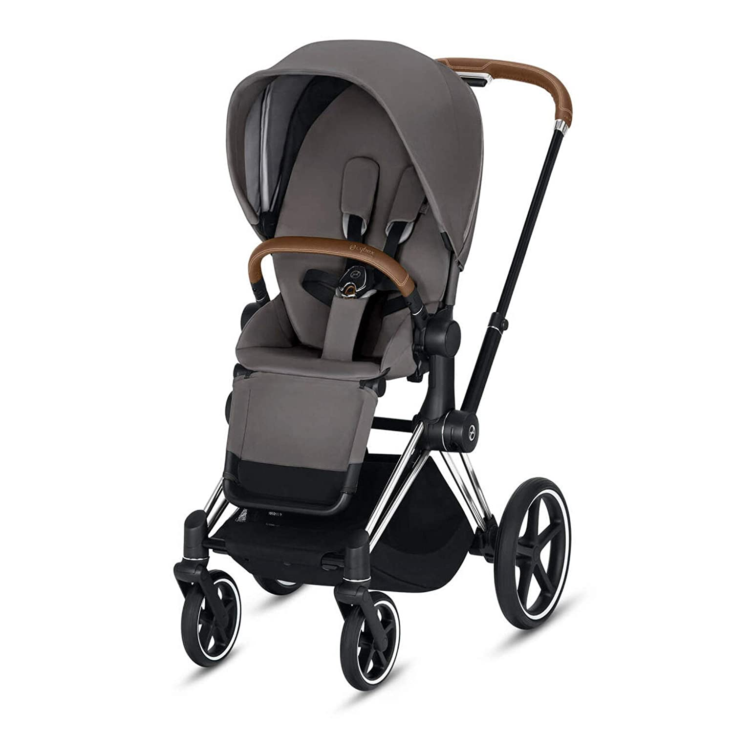 Cybex Priam 3 Complete Stroller, One-Hand Compact Fold, Reversible Seat, Smooth Ride All-Wheel Suspension, Extra Storage, Adjustable Leg Rest, Manhattan Grey with Chrome/Brown Frame