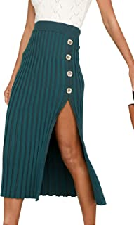 BerryGo Women's High Wiast Stretchy Ribbed Knit Skirt Pencil Midi Skirt with Slit