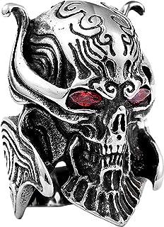 خاتم رجالي من الفولاذ المقاوم للصدأ على شكل جمجمة من مادة التيتانيوم، استخدام مصقول لا يسبب الحساسية وخواتم للرجال والنساء...