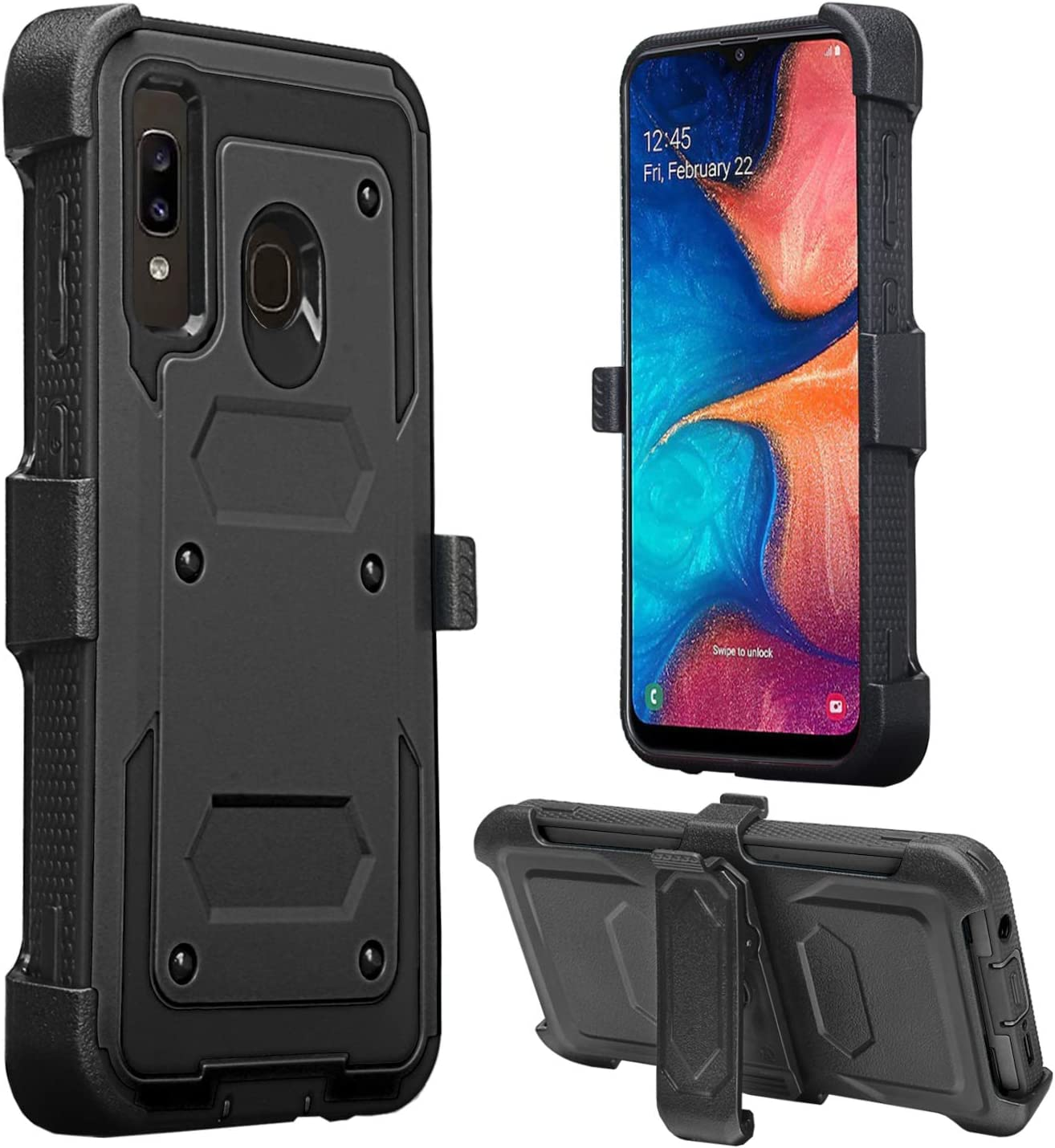 GW Case for Galaxy A20 / A30 Belt Clip Holster Kickstand Shock Proof Phone Case [Built in Screen Protector] Compatible for Samsung Galaxy A20/A30/A205U Cases - Black