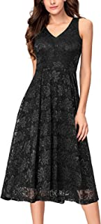 Lace V Neck Fit & Flare Midi Cocktail Dress for Women Party Wedding