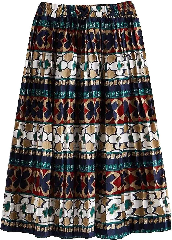 Long Skirt for Women Chiffon Vintage Flower Floral High Waist Elatsic Casual Beach Skirts