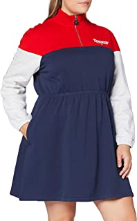 Tommy Hilfiger Tjw Colorblock Mock Neck Dress Vestito Donna