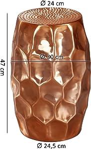 Wohnling Mesa Auxiliar Jada 30x 47x 30cm Aluminio Cobre Mesa Decorativa Cojín Redondo, Mesa Martillado Almacén pequeña, Diseñador Estante Mesa Metal Modern, anstell Mesa Estrecho, 35x 35x 51cm