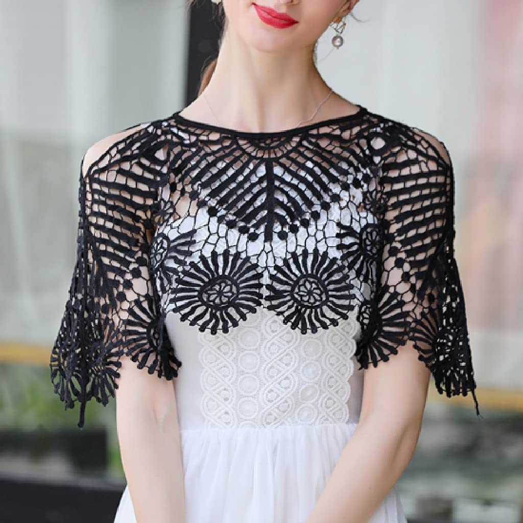 PDGJG Ladies Lace Shawl, Vest in Summer, Ladies All-Match Fashion Short Shawl (Color : Black)
