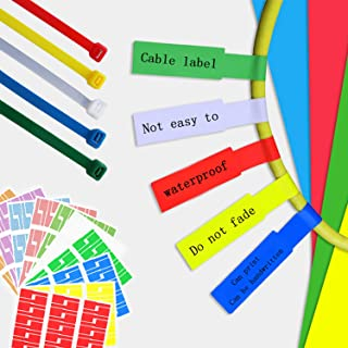10 Sheets Cable Labels, (5 Assorted Colors - 300 Labels Pack+30 Cable ties) Self-Adhesive Cable Label, Cable Cord Identifi...