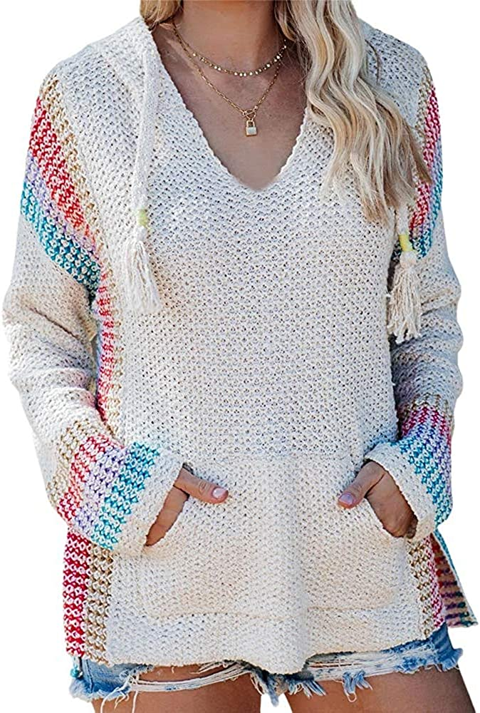 FERBIA Women Boho Sweater Hooded Hoodie Pullover Now free shipping Colorblock 5 ☆ very popular Baja