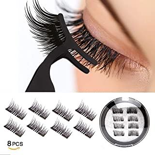 Vassoul Dual Magnetic Eyelashes, 0.2mm Ultra Thin Magnet, Light weight & Easy to Wear, Best 3D Reusable Eyelashes with Applicator (8 PC with Tweezers)