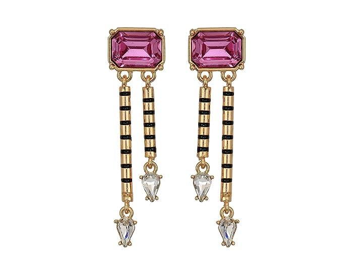 Steve Madden  Emerald Shape Post with Dangle Design Earrings (Pink) Earring