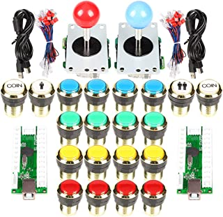Arcade Stick Gold Plating Buttons Kit EG Starts 2 Player USB Encoder to PC Joystick Games 5Pin Sticker Gilded 1 & 2 Players Coin LED Lamp Push Buttons Compatible Mame KOF Raspberry Pi 2 3 3B