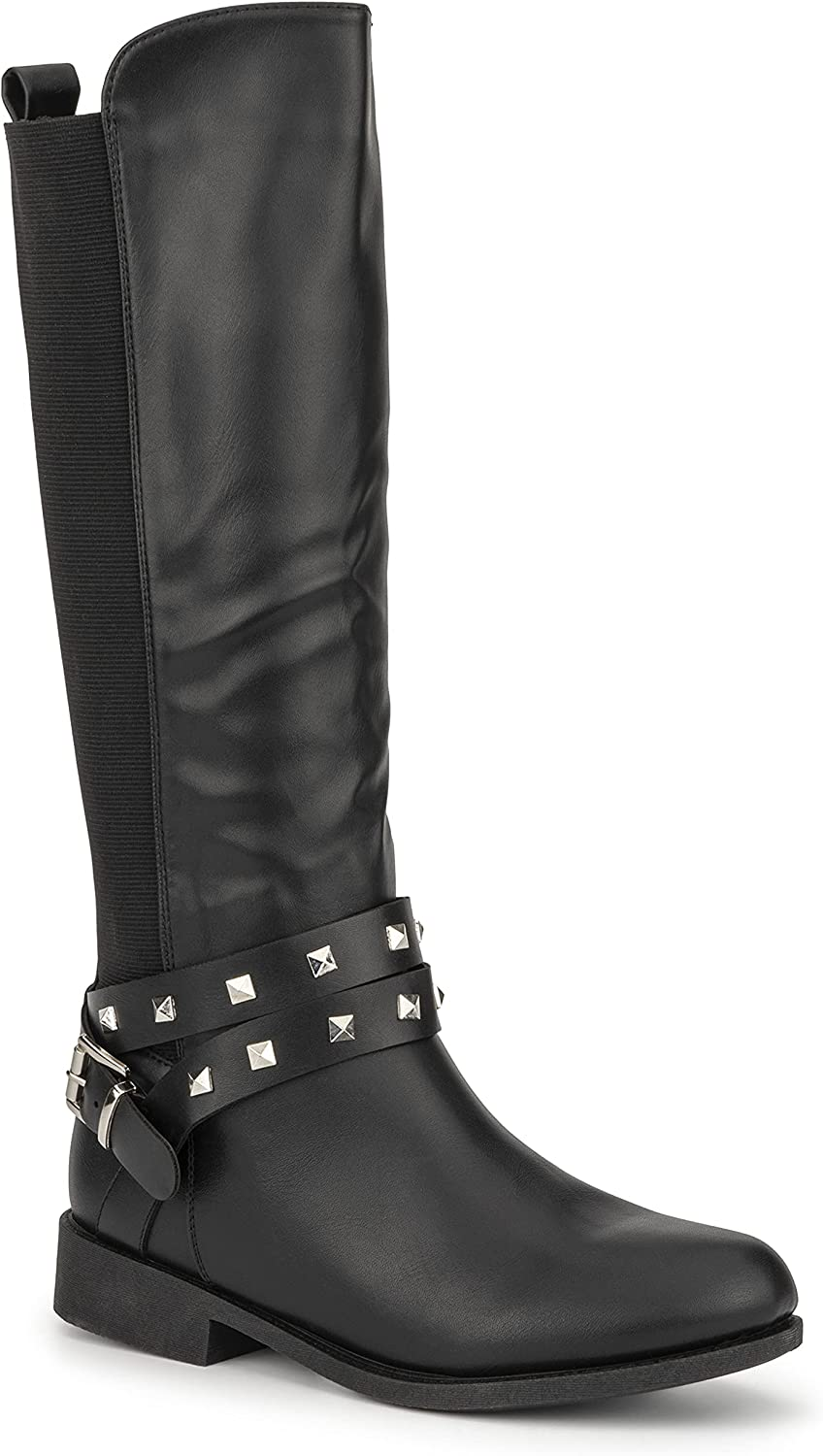 Olivia Miller Women's Fashion Shoes, PU Faux Leather Side Zipper Elastic Slip On Studded Strappy Casual Classic Knee High Riding Round Toe Boots