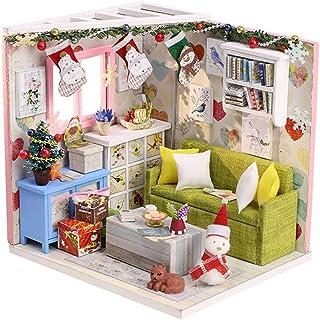fosa DIY Wooden Miniature House 3D DIY Dollhouses Miniature Dollhouse Wooden Toys Children's Room Decoration Handmade Assembly Art House Christmas Creative Birthday Gift(M-010FM-SD)