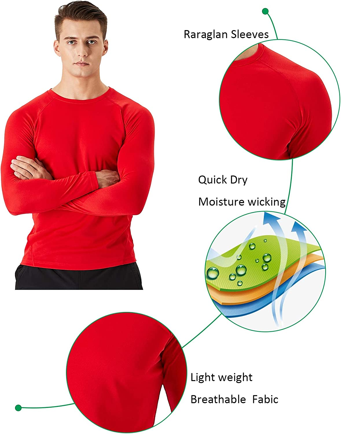 Mens Long Sleeve Workout Shirts Dry Fit Lightweight Sports Athletic Running Gym Tee Tops