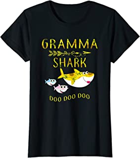 Womens Sunflower Gramma Shark Doo Doo Shirt Funny Gift Gramma