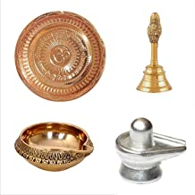 finaldeals Combo Pack Copper Gayatri Mantra Thali Pooja Plate Brass Garuda Brass Ghanti Parad Shivling Parad Shivlingam Br...