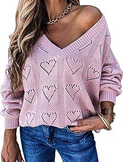 Byinns Women's V Neck Long Sleeve Knit Tops Loose Heart-Shaped Cutout Baggy Slouchy Crochet Pullover Sweaters