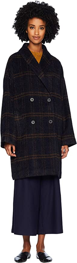 Luxe Alpaca Windowpane Double Breasted Oversized Coat