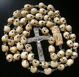 elegantmedical Handmade Vintage Tibet Oxen Bone Skull Beads OWL Rosary Catholic Necklace Italy Cross Box