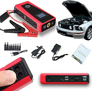Indigi Heavy Duty Pocket Emergency Vehicle Instant Jump Starter 8000mAh USB 12V Power Bank Battery Charger Travel Kit! (Red)