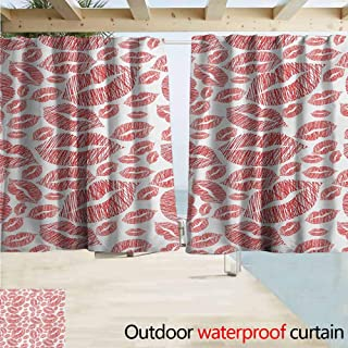 AndyTours Outdoor Blackout Curtains,Romantic Hot Retro Lady Lipstick Marks Sexy Feminen Women Girls Artwork Image Print,Rod Pocket Energy Efficient Thermal Insulated,W63x63L Inches,Vermilion White