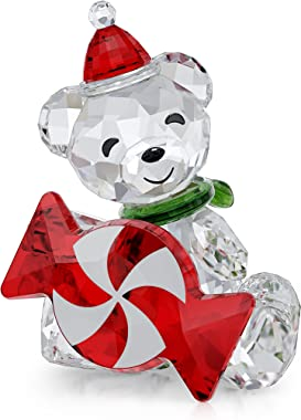 SWAROVSKI Kris Bears Peppermint Candy Figurine, 2021 Annual Edition, Clear Swarovski Crystal with Red and Green Accents, Part