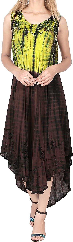 LA LEELA Womens Printed Long Nightgowns Lingerie Sleeveless Maxi Sleep Dress Tye Die Sleepwear
