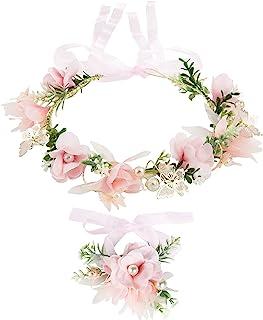 Cinta para el Cabello de Corona de Flores, Taumie Ajustable Hecha a Mano Diadema Floral y Pulsera de Perlas, Novia Corona ...