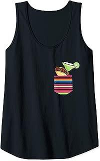Womens Margarita and Tacos Shirt Serape Pocket Party Mamacita Tank Top