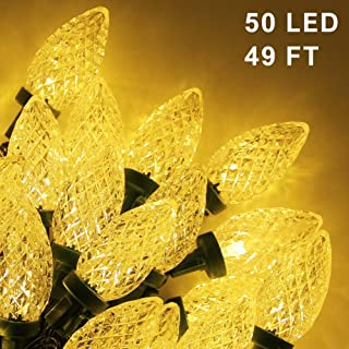 Twinkle Star C9 Christmas String Lights, 50 LED 49ft Outdoor Fairy Lights with 29V Safe Adaptor, Extendable Green Wire String Lights for Patio Xmas Tree Wedding Party Decoration, Warm White