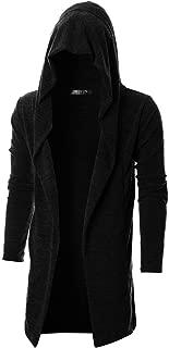 Mens Long Sleeve Draped Lightweight Open Front Longline Hooded Cardigan