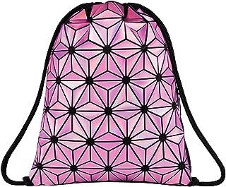Geometric Luminous Drawstring Bag Holographic Reflective Gym Bags for Women Men